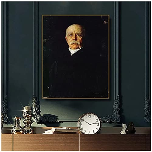 Jhmjqx Eminente statista Tedesco Otto Von Bismarck Ritratto del Principe Franz Retro Stampa su Tela Decorazione della casa Poster 50x70 cm x1 Senza Cornice
