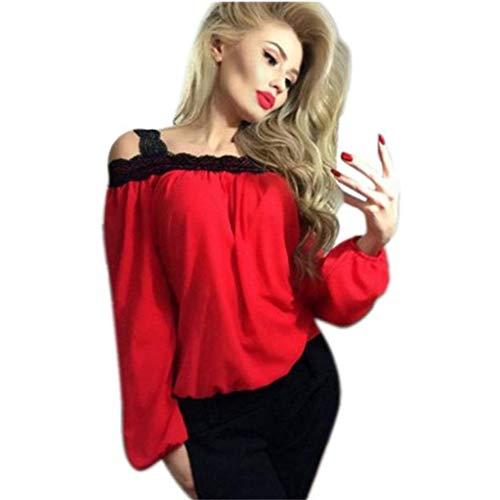Women Blouse,Haoricu Fall Women Sexy Off Shoulder Long Sleeve Shirt Lace Chiffon Blouse Loose Top T Shirt (XL, Red)