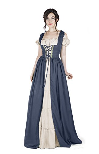 Renaissance Medieval Irish Costume Over Dress & Boho Chemise Set (2XL/3XL, Steel Blue)