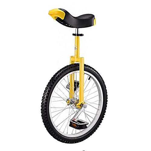 Monociclo De 20 Pulgadas con Llantas De Acero De Aluminio Ajustable En Altura, Uni Cycle, Monociclo para Hombres, Mujeres, Adolescentes, Niños, Ciclistas, Mejor Regalo De Cumpleaños, Amarillo Durade