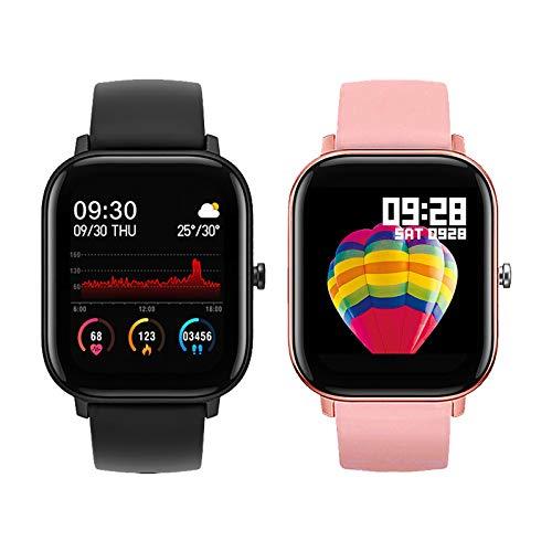 P8 Smart Watch 1.4 Pulgadas Hombres Touch Full Fitness Tracker Impermeable Tasa del corazón Monitor de sueño Mujer GTS Smartwatch MYCH (Color : Black Add Pink)