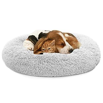 MIXJOY Orthopedic Dog Bed Comfortable Donut Cuddler Round Dog Bed Ultra Soft Washable Dog and Cat Cushion Bed (36'' x 36'') (Grey)