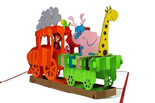 3D Geburtstagskarte – Dampflok Karte für Kinder: Eisenbahn mit bunten Tieren – Handgefertigte Klappkarte mit Umschlag, Pop-Up 3D-Karte zum Geburtstag - 3