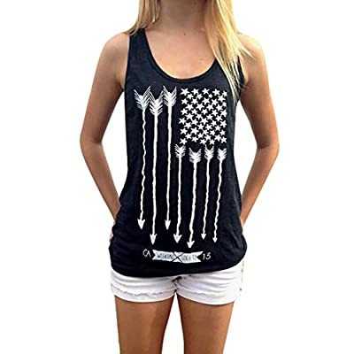 Leewos Hot Sale! 2019 Fashion!Women American Flag Printed Tank Tops Sleeveless Independence Day T-Shirt Vest Black from Leewos Hot Sale!