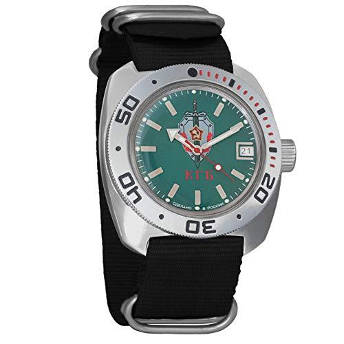 Vostok KGB ruso de anfibios Military para hombre reloj de pulsera Negro Nailon # 71945