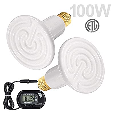 WUHOSTAM 2 Pack 100W White Ceramic Heat Lamp with 1-pcs Digital-Thermometer,Infrared Bulb Emitter Lamp Infrared Bulb for Pet Brooder Coop Chicken Lizard Turtle Snake Aquarium ETL Listed
