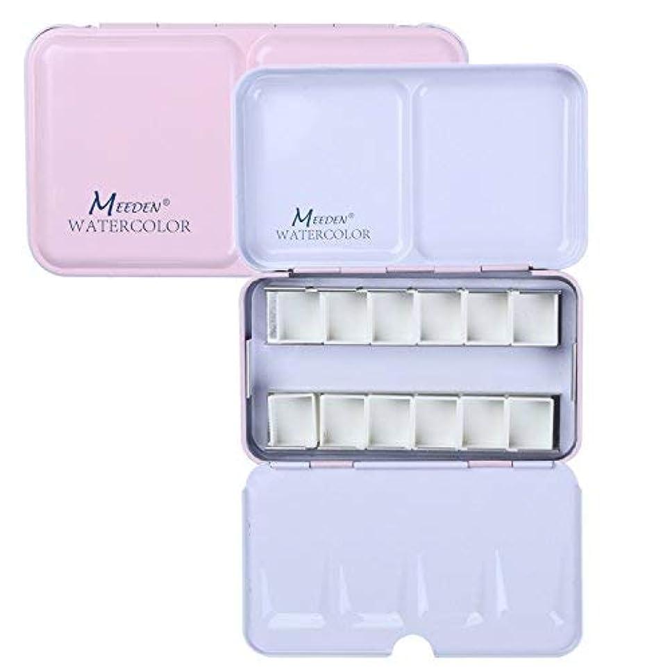 痛み資源マナー絵具ケース+12個ハーフパン パレットを付ける 絵皿 空のパン容器 顔料用 絵具セット ピンク