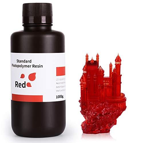 ELEGOO 3D Drucker Rapid Resin UV-gehärtetes Harz Standard Photopolymer Harz für LCD 3D Printer Klarrot 1000g