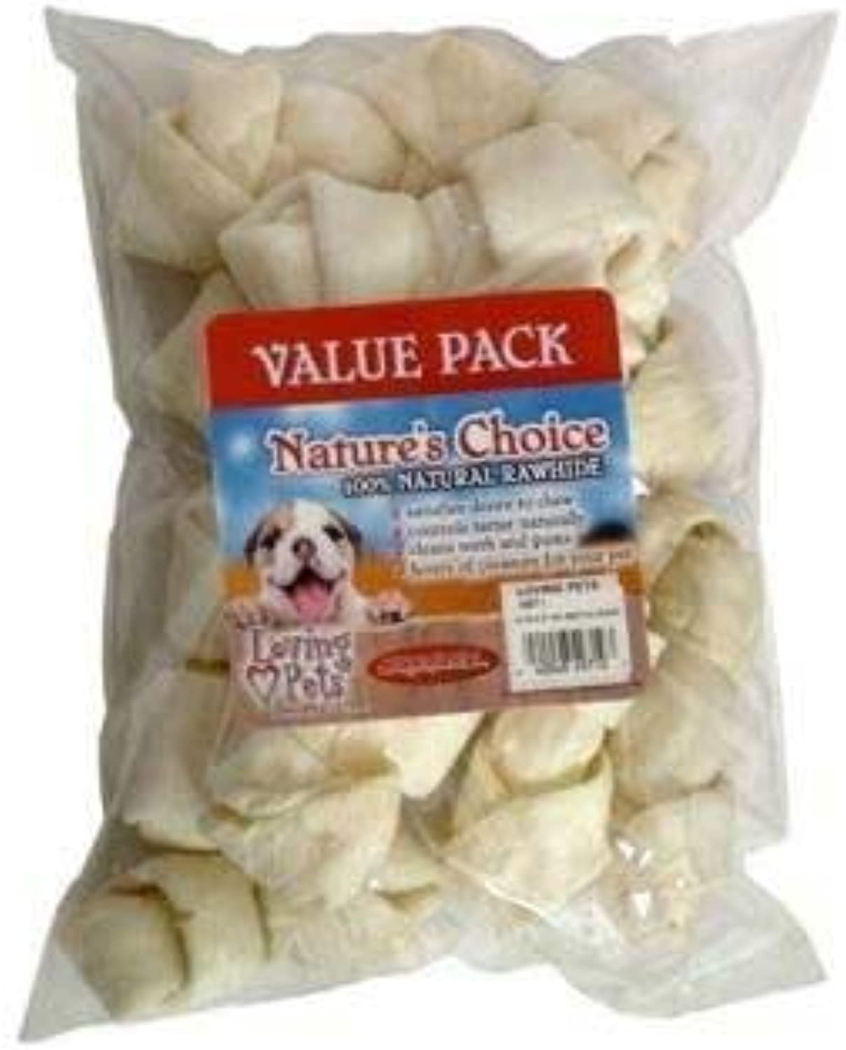 Loving Pets Dlv4971 10Pack Natures Choice Natural Knotted Rawhide Bones For Dogs, 5Inch, White