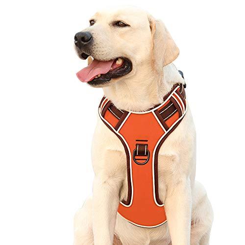 Hundegeschirr für Große Hunde Anti Zug Geschirr No Pull Sicherheitsgeschirr Kleine Mittlere Hunde Brustgeschirr Reflektierendem Dog Harness Weich Gepolstert Atmungsaktiv Orange L