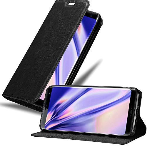 Cadorabo Hülle für Sony Xperia XZ3 - Hülle in Nacht SCHWARZ – Handyhülle mit Magnetverschluss, Standfunktion & Kartenfach - Hülle Cover Schutzhülle Etui Tasche Book Klapp Style