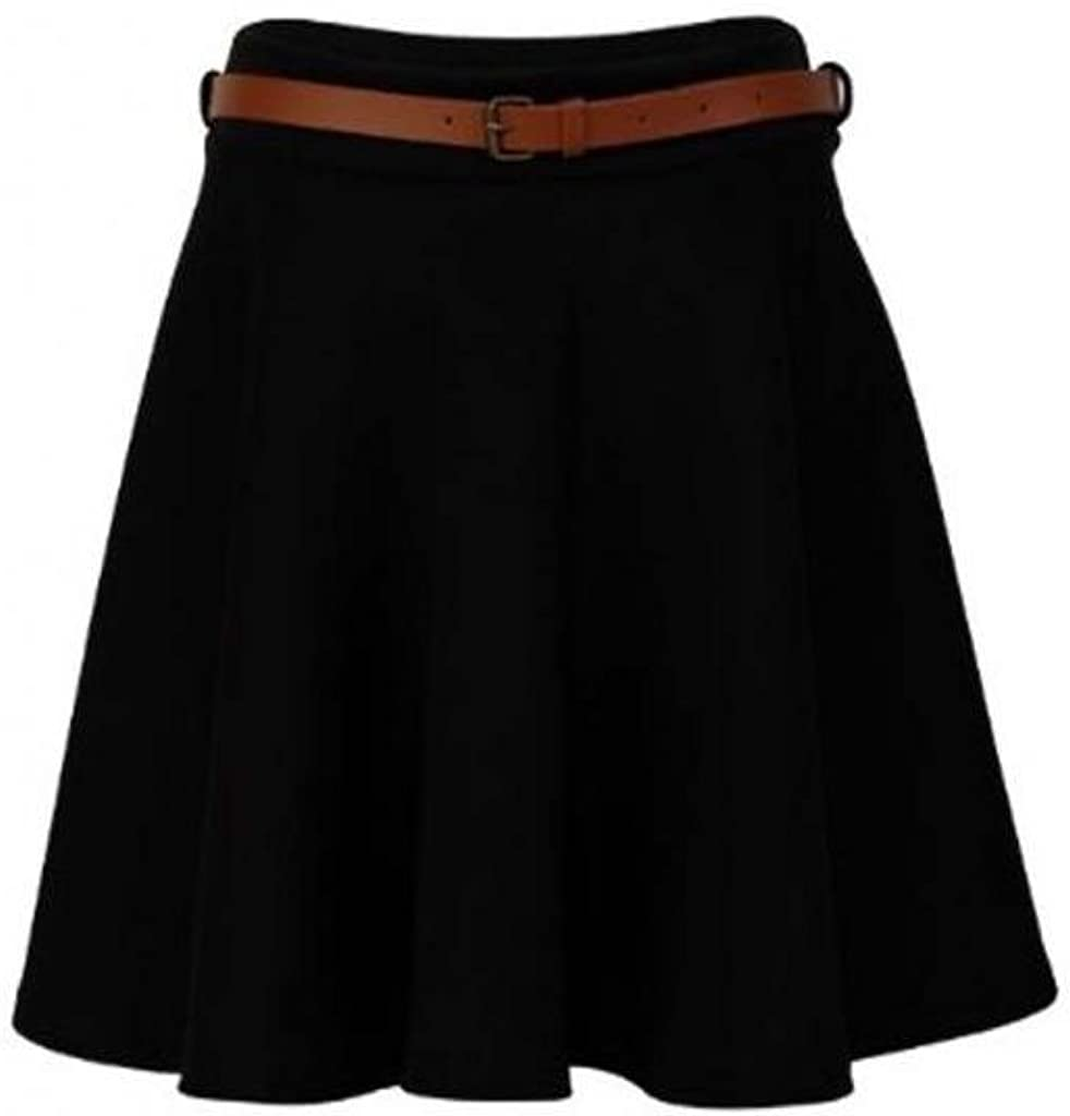 My1stWish 75F Womens Belted Waist Ladies Evening Party Mini Short Skater Skirt