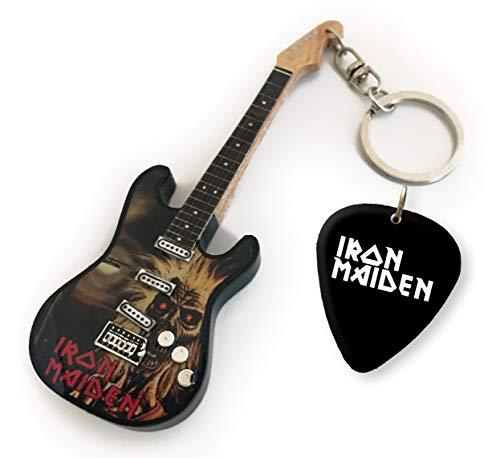 Iron Maiden Eddie US Llavero de Guitarra y púa a Juego