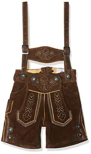 Isar-Trachten Kurze Baby Kinder Trachtenlederhose mit abnehmbaren Hosenträgern - Lederhose (134)