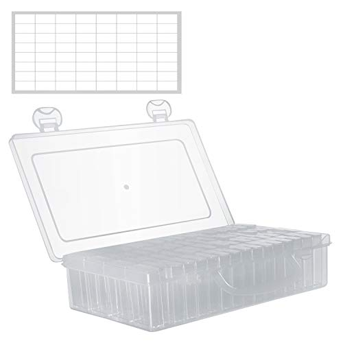 Cajas Organizadoras de Plastico 64 Contenedores Nail Art Diamante- Caja de Almacenaje Nail Art decoracion- Caja Accesorios, Abalorios, Joyas, Pendientes, Pastillas – Plástico Transparente 5D Pintura