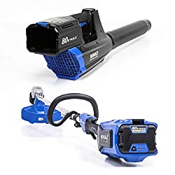 top rated Kobalts 80V 16 inch line trimmer, 500 CFM 125mph blower, 2.5Ah battery and charger 2021