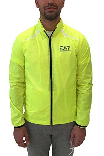 Emporio Armani EA7 Herren Windjacke - Leichte, atmungsaktive Jacke, Trainingsjacke, Laufjacke mit Mesh-Innenfutter, Stehkragen und Logo - Neongelb - Yellow Fluo, Farbe:Gelb;Größe:XL