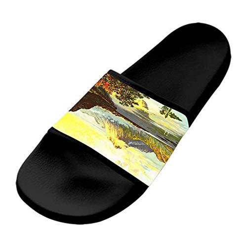 GKrepps Pantuflas de pintura de paisaje, informales y elegantes, ligeras, para interiores y exteriores, antideslizantes, para la playa, planas y cómodas, color Negro, talla 36 EU
