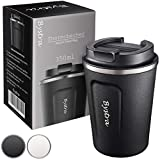 BYSTRA Thermobecher – Kaffeebecher to go 100% Auslaufsicher – Isolierbecher 350ml – Trinkbecher doppeltwand Isolierung – Travel Mug – Teebecher – Reisebecher BPA-Frei – schwarz