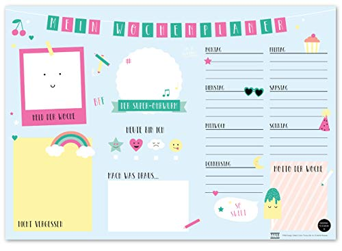 TYSK Design Schreibtischunterlage Kinder Blau (Design wählbar) Tischunterlage aus Papier zum Abreißen DIN A3 to Do Liste Notizblock Wochenplaner