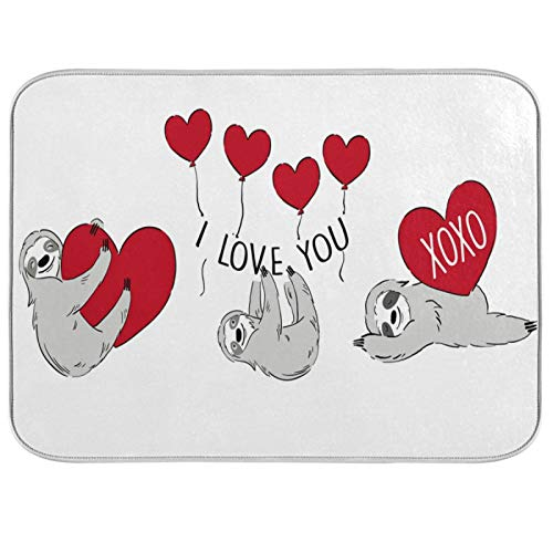 Oarenol Valentines Sloth Heart Dish Drying Mat I Love You Balloon Large 18 x 24 Inch Reversible Drying Mat for Kitchen Counter