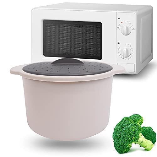 MovilCom® - Pentola a vapore per riso, cous cous, quinoa, pasta | ricce cooker | cuociriso a microonde | colore beige