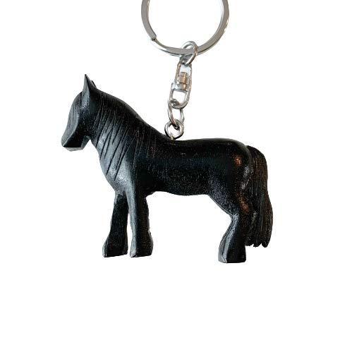 JA Horse - Holz Schlüsselanhänger Pferd Pferdchen Pony Reiten Tier handgemacht (3D schwarzes Pferd)