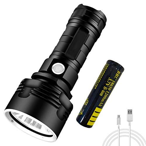 Sayla LED Taschenlampe,Extrem Hell Handlampe für Camping,Ausrüstung,Militär,Outdoor,Zoombarer Einstellbarer Fokus, 3 Modi - USB Rechargale Licht Taschenlampe (Schwarz)
