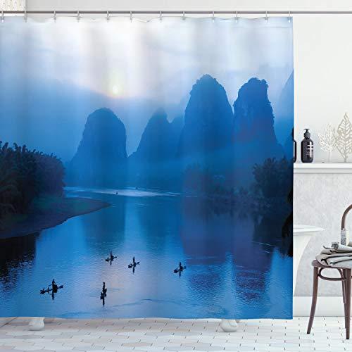 ABAKUHAUS Blau Duschvorhang, Sonnenaufgang Bambus Floß China, mit 12 Ringe Set Wasserdicht Stielvoll Modern Farbfest & Schimmel Resistent, 175x180 cm, Königsblau Aqua