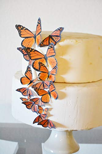 Edible Butterflies - Assorted Orange Monarch Set of 15 - Cake and Cupcake Toppers, Decoration