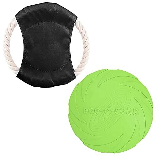 HONGECB Perros Interactivos Frisbee, Discos Voladores para Perros, Juguete De Disco Volador para Perro, Frisbee Perro, para Entrenar, Lanzar, Atrapar y Jugar, 2 Piezas, Verde, Negro