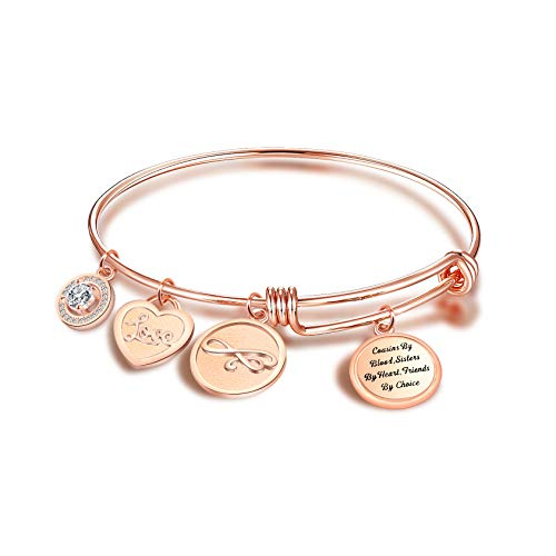 FEELMEM Cousins Bracelet Gift Cousins By Blood Sisters By Heart Friends By Choice Bangle Bracelet Cousin Jewelry Gift for Cousin BBF Best Friend(rose gold)