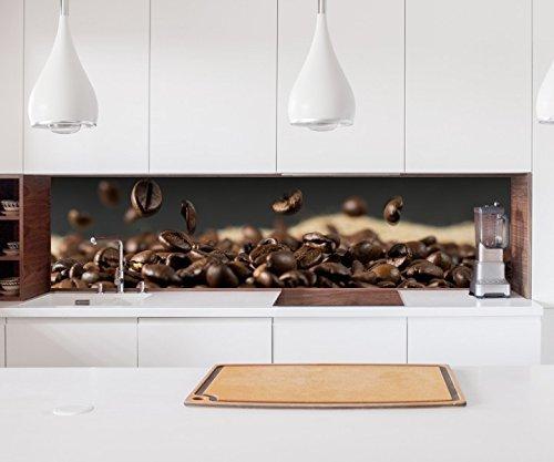 Aufkleber Küchenrückwand Kaffee Samen Kerne Coffee Bohnen Küche Folie selbstklebend Dekofolie Fliesen Möbelfolie Spritzschutz 22A610, Höhe x Länge:60cm x 60cm