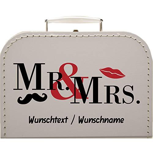 Hochzeitskoffer Mr & Mrs, Pappkoffer mit Wunschtext Koffergröße 20 x 14,5 x 8 cm, Farbe weiß
