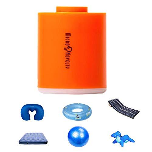 Terzsl Bomba de aire eléctrica, pequeño inflador de aire con 5 boquillas para colchón de aire, flotador, bomba de vacío recargable por USB, con luz de 400 lm
