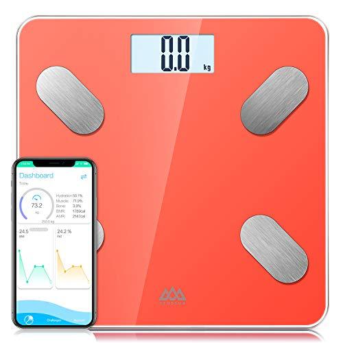 Báscula Grasa Corporal Bluetooth Básculas de baño SENSSUN,Analiza la composición corporal, porcentaje de grasa corporal,con 13 Funciones,IMC/músculo/grasa corporal/masa ósea etc(Naranja)