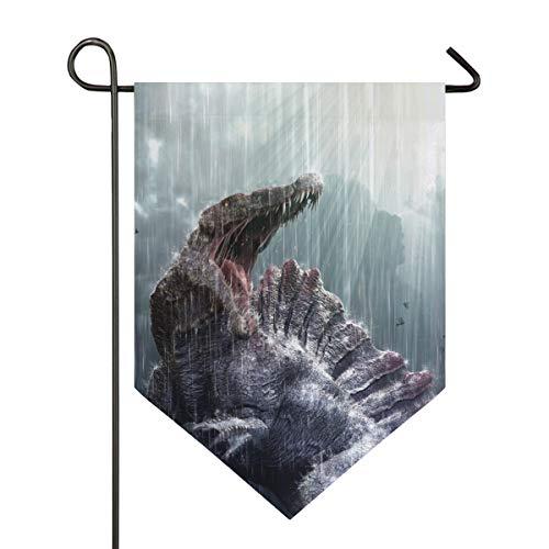 Montoj Cool Spinosaurus Dinosaurus con tormenta tropical Home Sweet Home Garden bandera vertical de doble cara patio decorativo al aire libre, poliéster, 1, 28x40in