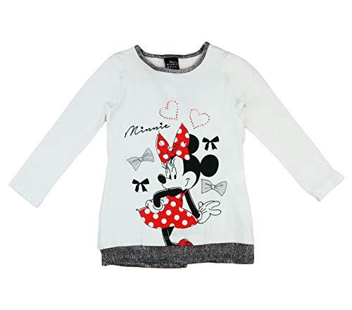 Minnie Mouse Disney Mädchen Pulli Langarmshirt in Größe 80 86 92 98 104 110 116 122 Baumwolle Longsleeve Weiß Rosa Gemustert Farbe Modell 10, Größe 80