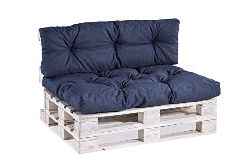 Palettenkissen Palettenauflagen Sitzkissen Rückenlehne Gesteppt PPI (Set (Sitzkissen 120x80 +Rückenlehne 120x40), Dunkelblau)