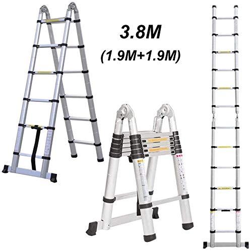 3,8 m (1,9 m + 1,9 m) Aluminium-Klappleiter, Mehrzweck-Leiter, ausziehbar, A-Rahmen, tragbare Teleskopleiter für den Innen- und Außenbereich, EN131-Zertifikat, 150 kg Kapazität