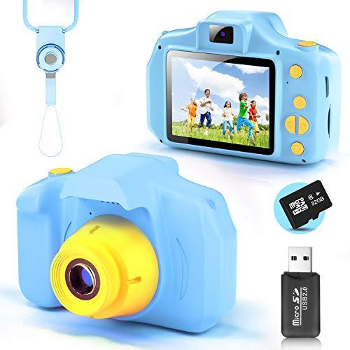 YunLone Cámara para Niños 12MP Selfie Cámara Digital 1080P HD Video Cámara Infantil 32GB TF Tarjeta, Estuche de Transporte, Batería Recargable 1200 mAh,2 Pulgadas, Regalos Juguete - Azul