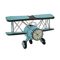 Zeckos Blue Barnstormer Retro Biplane Wall Clock Sculpture 12 Inch