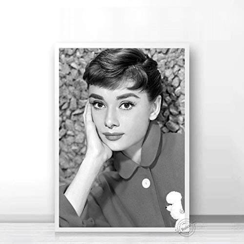 Audrey Hepburn Poster Movie Star Prints Nordic Black White Wall Art Canvas Painting Wall Pictures For Living Room Home Decor b47 50X70cm