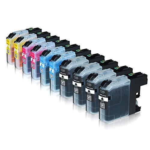 Logic-Seek 10 Tintenpatronen kompatibel für Brother LC-123 LC123 LC-121 LC-127 LC-125 XL für Brother MFC-J470DW MFC-J870DW DCP-J552DW - Schwarz je 20ml, Color je 14ml mit Chip