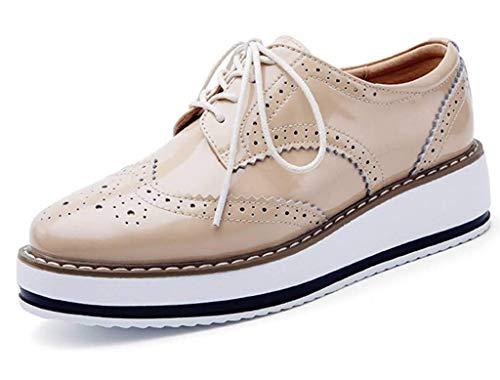 Minetom Damen Derby Brogue Schnürhalbschuhe Anzugschuhe Flügelspitzen Plattform Oxfords Schuh PU Leder Britischer Stil Bullock Schuhe Aprikose EU 36