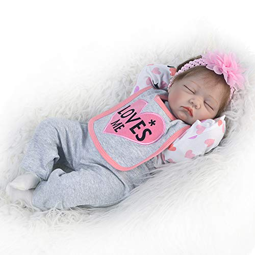 GFQ Babypuppen Reborn Baby Doll Lebensechte schlafende Neugeborene Puppen 22 Zoll 55 cm weiches Vinyl gewichtetes Mädchen Geschenkset für Kinder ab 3 Jahren