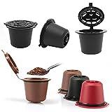 xingxing Storage & Organization - Juego de 6 cápsulas de café recargables de 50 a 100 ml, cápsulas de café reutilizables con cepillo para cuchara de café Nescafe Dolce Gusto (color: negro)