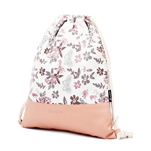 Leapop Turnbeutel Blumen Schmetterlinge, Rosa - 3