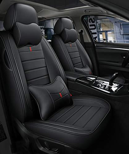 YUYTIN Cubiertas de Asiento de automóvil, Conjunto de airbags compatibles universales de 5 plazas de 5 plazas Frente y Trasero Transpirable Cojín Protector de Comodidad de Cuero,B
