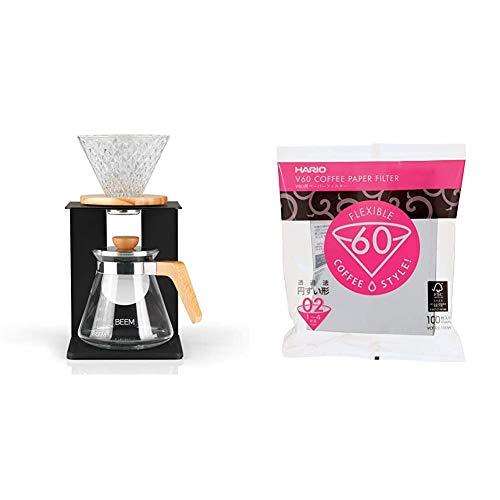 Beem Pour Over Kaffeebereiter Set-4 Tassen | Classic Selection | 4-teilig | Größe 2 | 0,5 l Glaskanne inkl. Deckel & Hario VCF-02-100W Papierkaffeefilter, Weiß, Größe 02, 100 Stück
